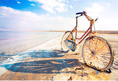Bike rusting on the shore